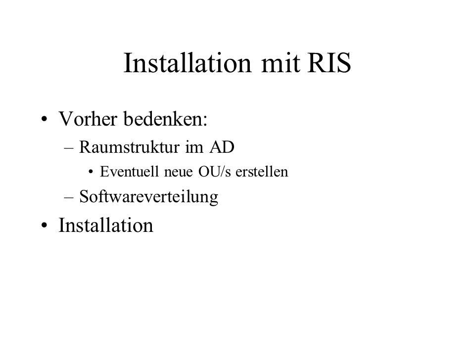 Installation mit RIS Vorher bedenken: –Raumstruktur im AD Eventuell neue OU/s erstellen –Softwareverteilung Installation