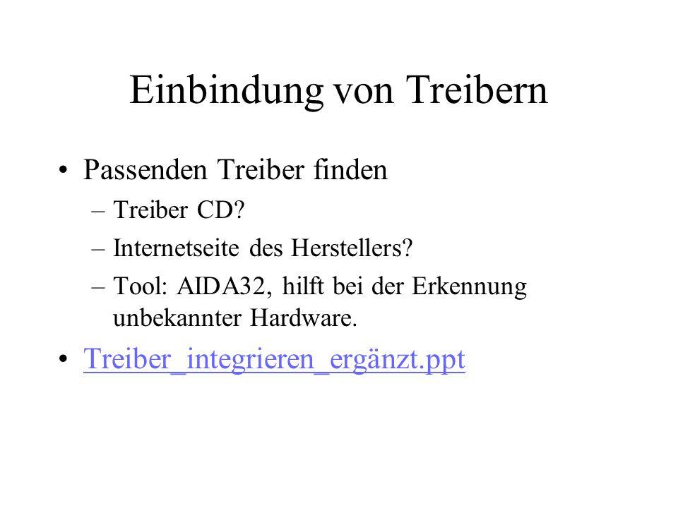 Einbindung von Treibern Passenden Treiber finden –Treiber CD.