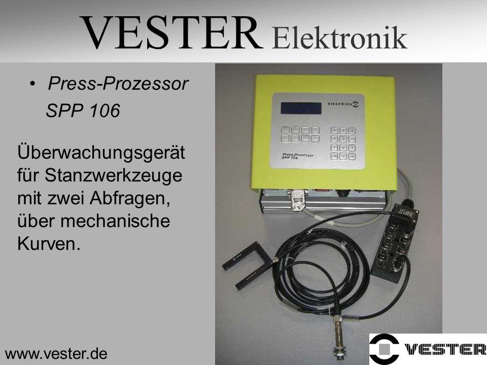 VESTER Elektronik Press-Prozessor SPP 106 www.vester.de Überwachungsgerät für Stanzwerkzeuge mit zwei Abfragen, über mechanische Kurven.