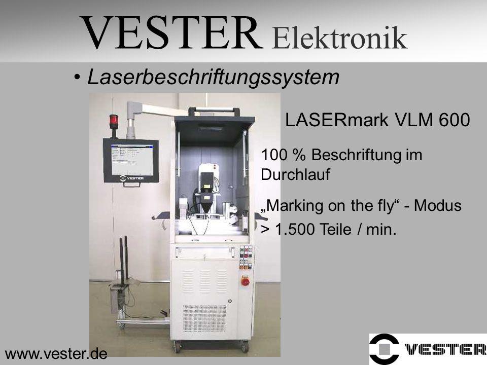 VESTER Elektronik Laserbeschriftungssystem LASERmark VLM 600 100 % Beschriftung im Durchlauf Marking on the fly - Modus > 1.500 Teile / min. www.veste