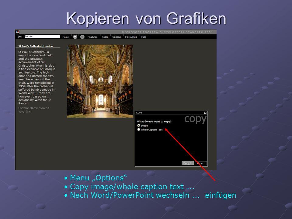 Kopieren von Grafiken Menu Options Copy image/whole caption text... Nach Word/PowerPoint wechseln... einfügen