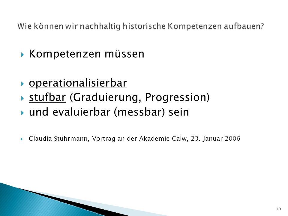 Kompetenzen müssen operationalisierbar stufbar (Graduierung, Progression) und evaluierbar (messbar) sein Claudia Stuhrmann, Vortrag an der Akademie Ca