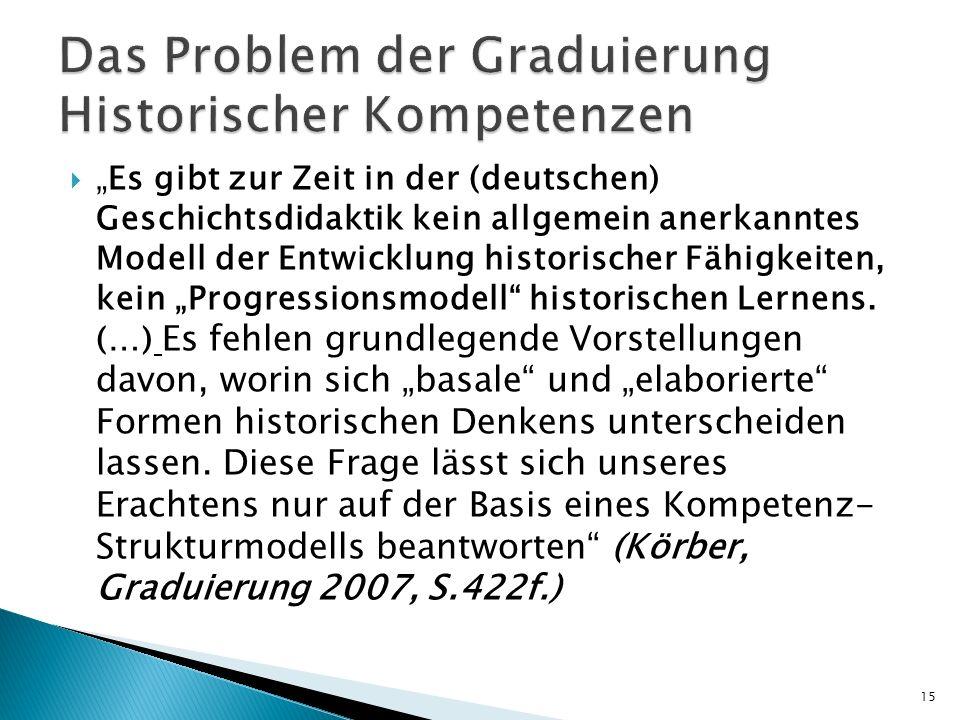 Es gibt zur Zeit in der (deutschen) Geschichtsdidaktik kein allgemein anerkanntes Modell der Entwicklung historischer Fähigkeiten, kein Progressionsmo