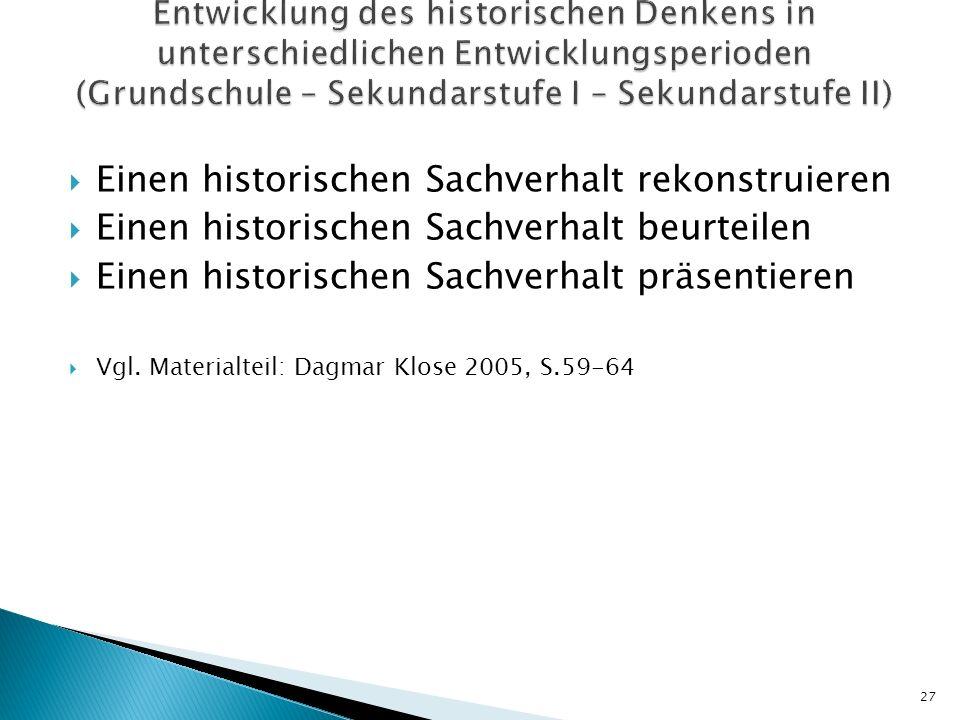Einen historischen Sachverhalt rekonstruieren Einen historischen Sachverhalt beurteilen Einen historischen Sachverhalt präsentieren Vgl. Materialteil: