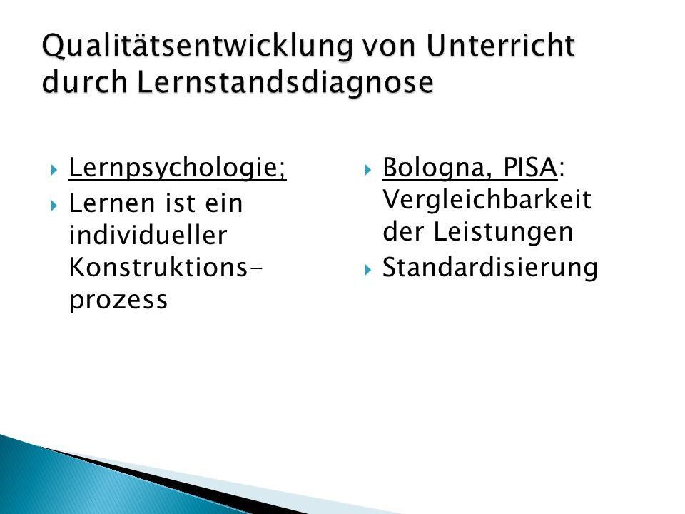 Lernpsychologie; Lernen ist ein individueller Konstruktions- prozess Bologna, PISA: Vergleichbarkeit der Leistungen Standardisierung 4