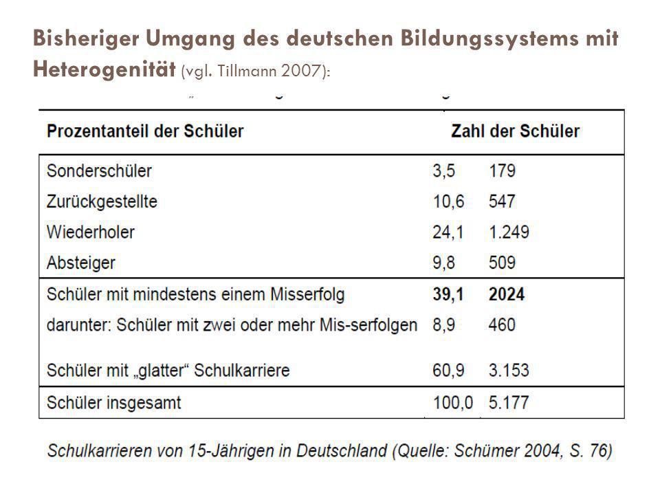 Umgang des deutschen Bildungssystems mit Heterogenität – bisher in den Blick genommene Dimensionen Auf schulorganisatorischer Ebene: Jahrgangsmischung integrative, inklusive Erziehung Neue Schuleingangsstufe individuelle Förderangebote
