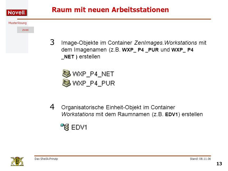 Musterlösung zwei Das SheilA-Prinzip 13 Stand: 08.11.06 Raum mit neuen Arbeitsstationen Image-Objekte im Container ZenImages.Workstations mit dem Imag