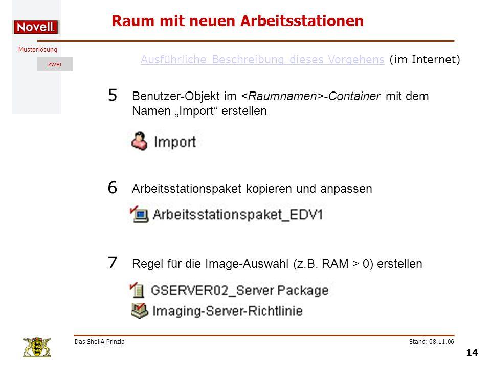 Musterlösung zwei Das SheilA-Prinzip 14 Stand: 08.11.06 Raum mit neuen Arbeitsstationen Benutzer-Objekt im -Container mit dem Namen Import erstellen 5