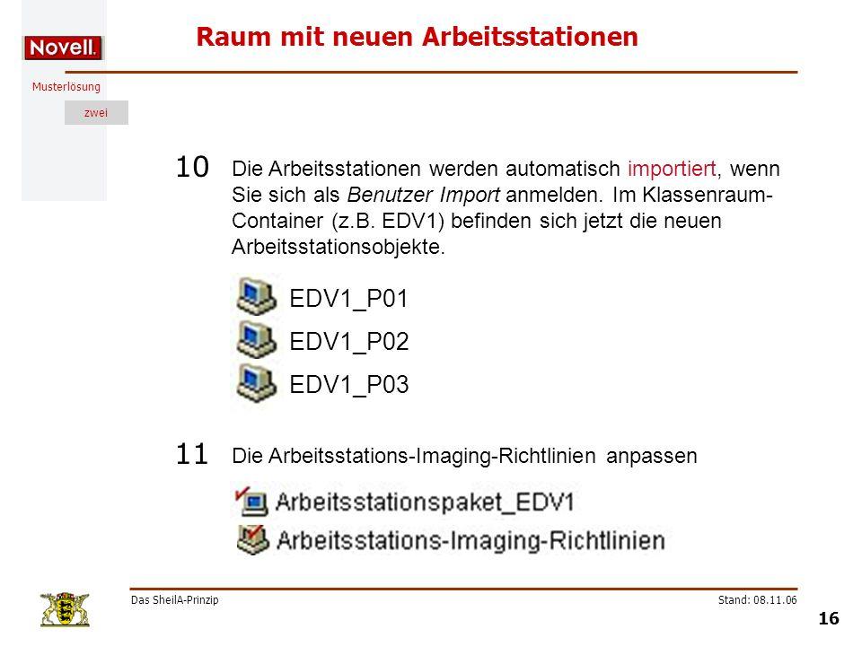 Musterlösung zwei Das SheilA-Prinzip 16 Stand: 08.11.06 Raum mit neuen Arbeitsstationen Die Arbeitsstationen werden automatisch importiert, wenn Sie s