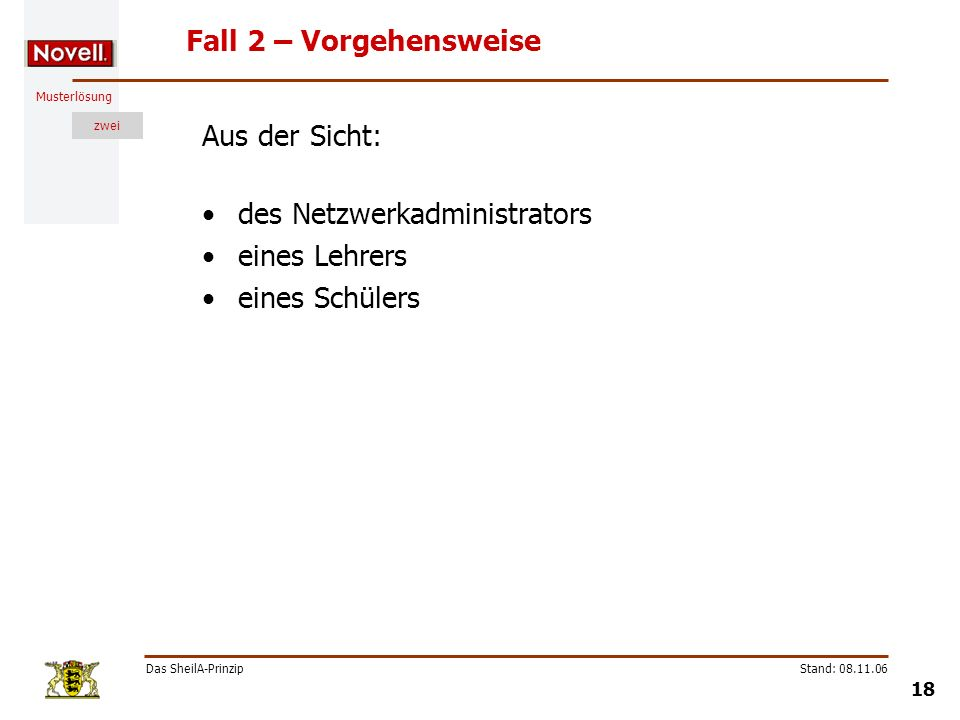 Musterlösung zwei Das SheilA-Prinzip 18 Stand: 08.11.06 Fall 2 – Vorgehensweise Aus der Sicht: des Netzwerkadministrators eines Lehrers eines Schülers