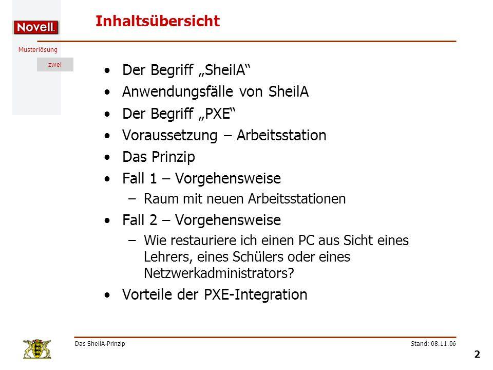 Musterlösung zwei Das SheilA-Prinzip 33 Stand: 08.11.06 Übung 3 Thema: Eine Arbeitsstation (PC03) in die NDS importieren.