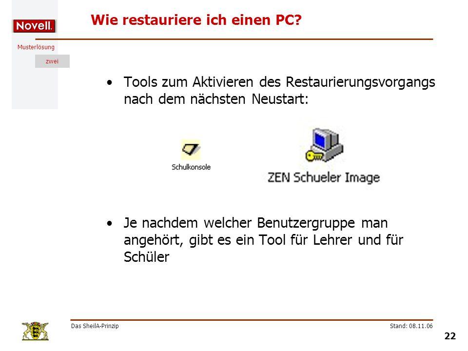Musterlösung zwei Das SheilA-Prinzip 22 Stand: 08.11.06 Wie restauriere ich einen PC? Tools zum Aktivieren des Restaurierungsvorgangs nach dem nächste