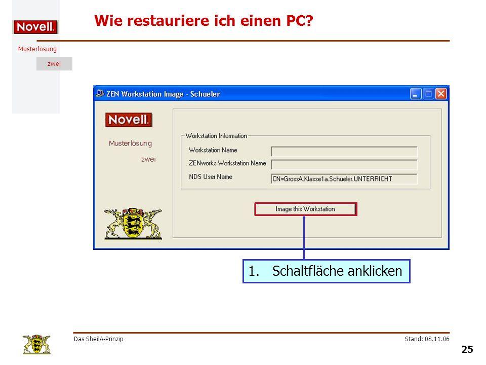 Musterlösung zwei Das SheilA-Prinzip 25 Stand: 08.11.06 Wie restauriere ich einen PC? 1.Schaltfläche anklicken