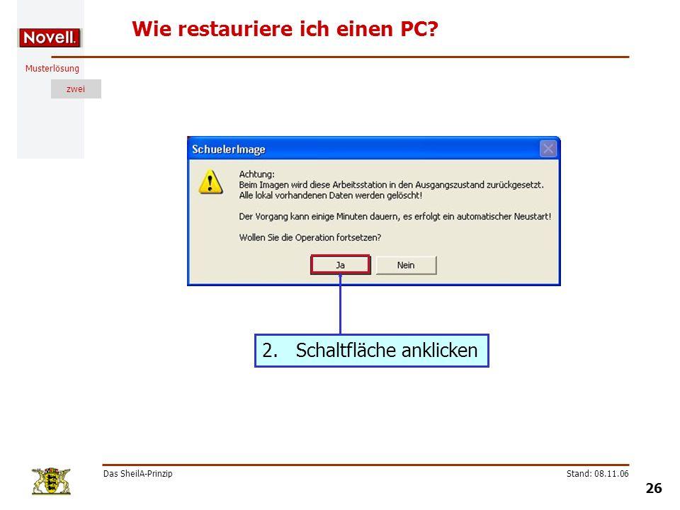 Musterlösung zwei Das SheilA-Prinzip 26 Stand: 08.11.06 Wie restauriere ich einen PC? 2.Schaltfläche anklicken