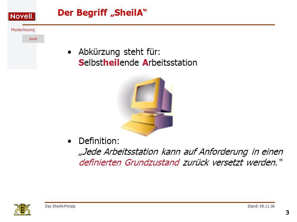 Musterlösung zwei Das SheilA-Prinzip 4 Stand: 08.11.06 Anwendungsfälle von SheilA Fall 1: neue Arbeitsstationen einbinden Fall 2: Arbeitsstation in definierten Grundzustand bringen ( Restaurierung) ArbeitsstationServer stellt PXE-Verbindung zum Server her PC wird eingeschaltet 1 2 Image wird übertragen 3