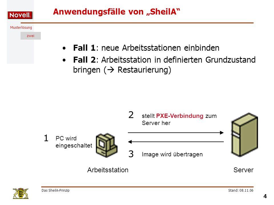 Musterlösung zwei Das SheilA-Prinzip 4 Stand: 08.11.06 Anwendungsfälle von SheilA Fall 1: neue Arbeitsstationen einbinden Fall 2: Arbeitsstation in de