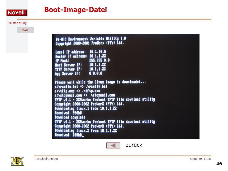 Musterlösung zwei Das SheilA-Prinzip 46 Stand: 08.11.06 Boot-Image-Datei zurück