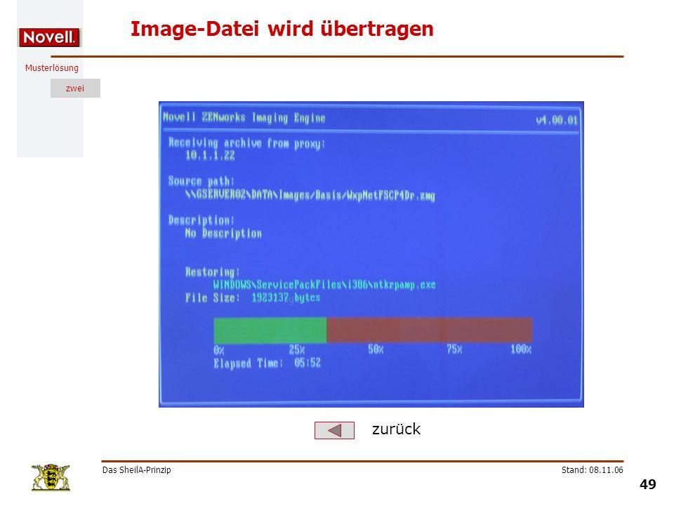 Musterlösung zwei Das SheilA-Prinzip 49 Stand: 08.11.06 Image-Datei wird übertragen zurück