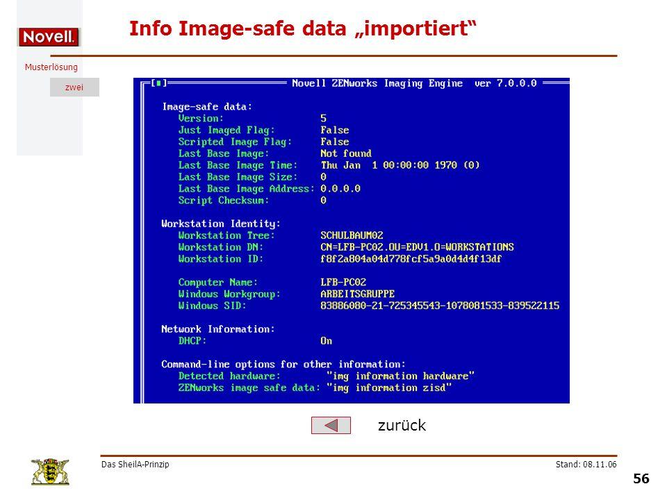Musterlösung zwei Das SheilA-Prinzip 56 Stand: 08.11.06 Info Image-safe data importiert zurück