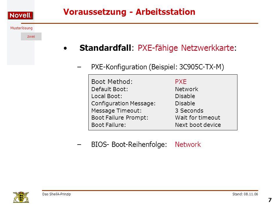 Musterlösung zwei Das SheilA-Prinzip 7 Stand: 08.11.06 Voraussetzung - Arbeitsstation Standardfall: PXE-fähige Netzwerkkarte: –PXE-Konfiguration (Beis