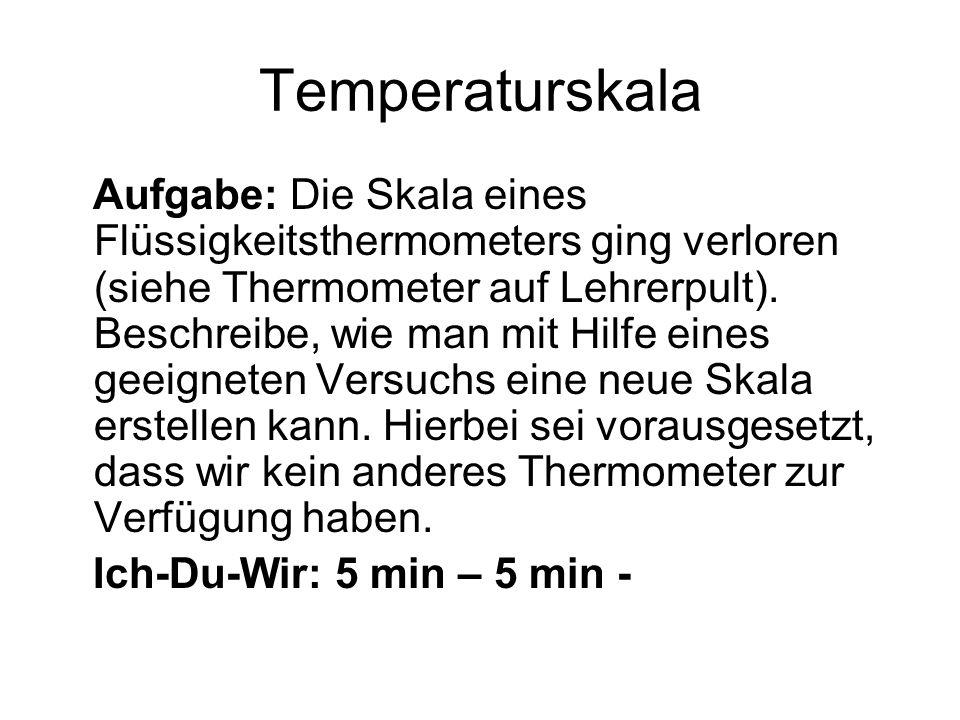 Temperaturskala Aufgabe: Die Skala eines Flüssigkeitsthermometers ging verloren (siehe Thermometer auf Lehrerpult).