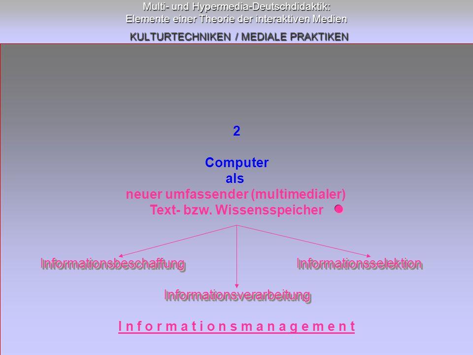 Multi- und Hypermedia-Deutschdidaktik: Elemente einer Theorie der interaktiven Medien KULTURTECHNIKEN / MEDIALE PRAKTIKEN 2 Computer als neuer umfasse