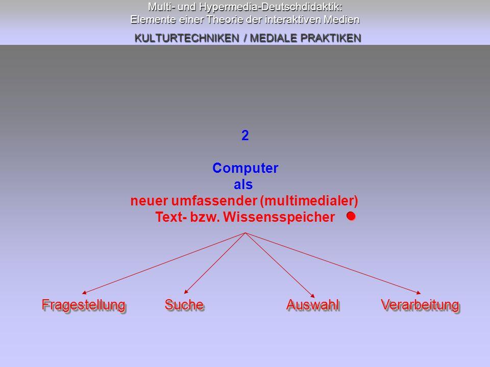 Multi- und Hypermedia-Deutschdidaktik: Elemente einer Theorie der interaktiven Medien KULTURTECHNIKEN / MEDIALE PRAKTIKEN 2 Computer als neuer umfassender (multimedialer) Text- bzw.