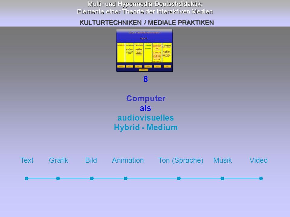 Multi- und Hypermedia-Deutschdidaktik: Elemente einer Theorie der interaktiven Medien KULTURTECHNIKEN / MEDIALE PRAKTIKEN 8 Computer als audiovisuelle