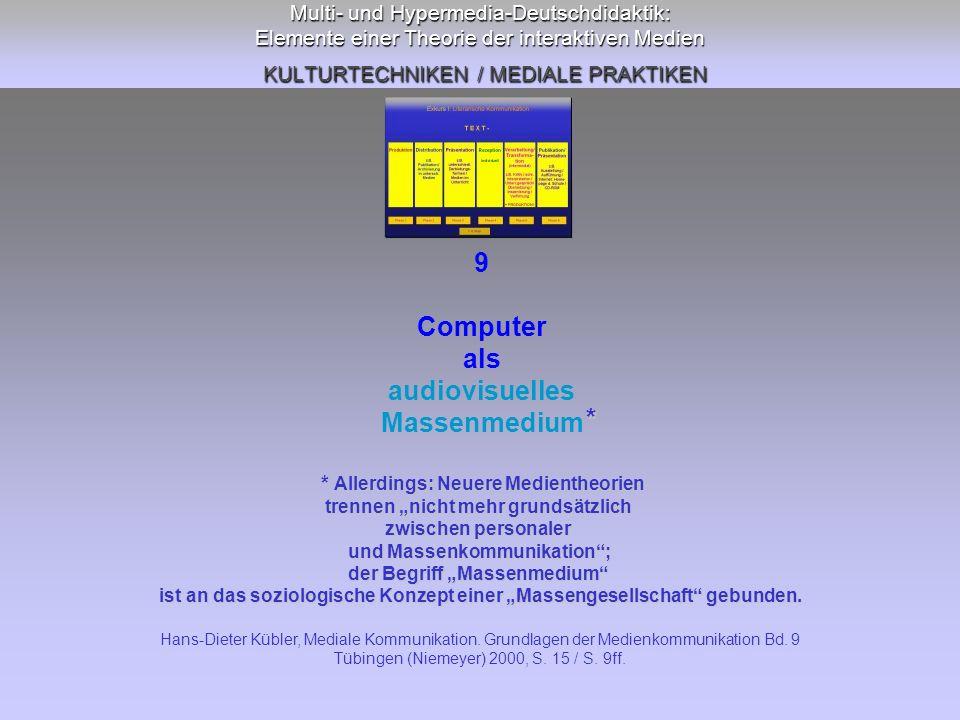 Multi- und Hypermedia-Deutschdidaktik: Elemente einer Theorie der interaktiven Medien KULTURTECHNIKEN / MEDIALE PRAKTIKEN 9 Computer als audiovisuelle