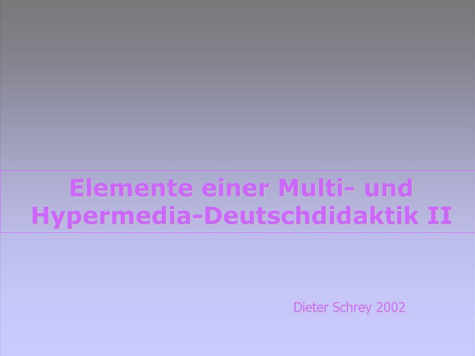 Multi- und Hypermedia- Deutschdidaktik Medientheorie / Deutschunterricht: Kulturtechniken / mediale Praktiken Medientheorie / Deutschunterricht: Kulturtechniken / mediale Praktiken