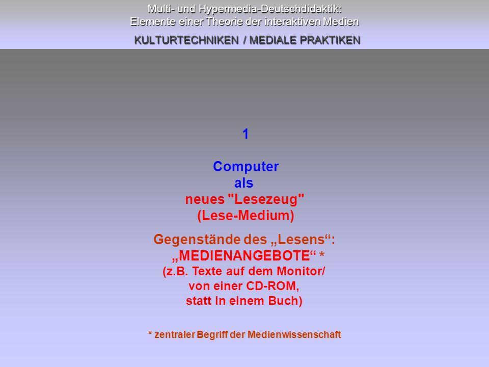 Multi- und Hypermedia-Deutschdidaktik: Elemente einer Theorie der interaktiven Medien KULTURTECHNIKEN / MEDIALE PRAKTIKEN 5 Computer (Schreib-Medium) als neues (multimediales) Publikationsmedium mediendidaktischer Aufgabenfeld: literaturdidakt.
