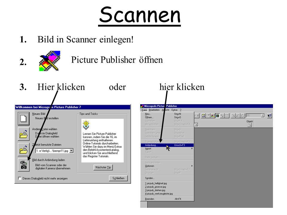 Scannen Picture Publisher öffnen 1. 2. Bild in Scanner einlegen! 3.Hier klicken oder hier klicken
