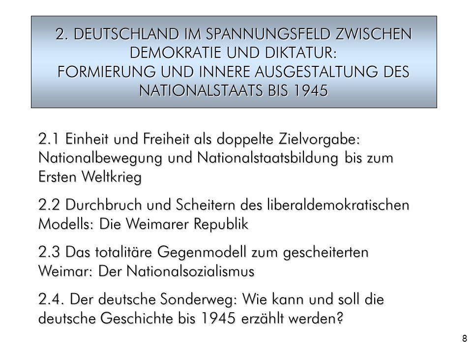 8 2. DEUTSCHLAND IM SPANNUNGSFELD ZWISCHEN DEMOKRATIE UND DIKTATUR: FORMIERUNG UND INNERE AUSGESTALTUNG DES NATIONALSTAATS BIS 1945 2.1 Einheit und Fr