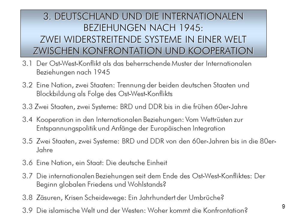 9 3. DEUTSCHLAND UND DIE INTERNATIONALEN BEZIEHUNGEN NACH 1945: ZWEI WIDERSTREITENDE SYSTEME IN EINER WELT ZWISCHEN KONFRONTATION UND KOOPERATION 3.1D