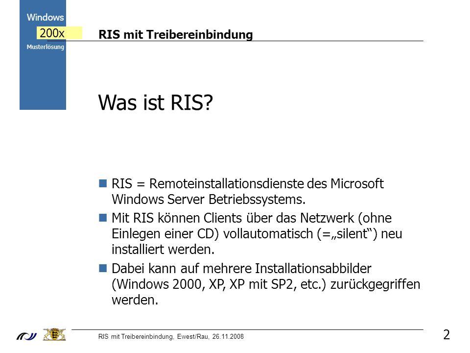 RIS mit Treibereinbindung RIS mit Treibereinbindung, Ewest/Rau, 26.11.2008 2000 Windows 200x Musterlösung 2 Was ist RIS? RIS = Remoteinstallationsdien