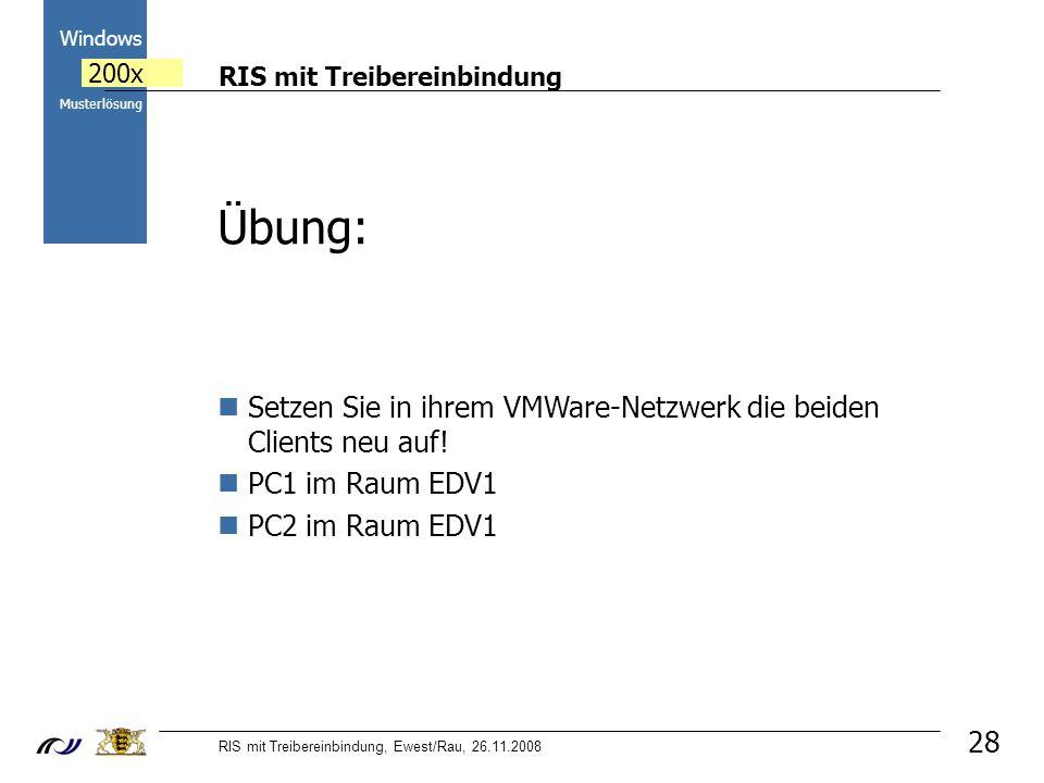 RIS mit Treibereinbindung RIS mit Treibereinbindung, Ewest/Rau, 26.11.2008 2000 Windows 200x Musterlösung 28 Übung: Setzen Sie in ihrem VMWare-Netzwer
