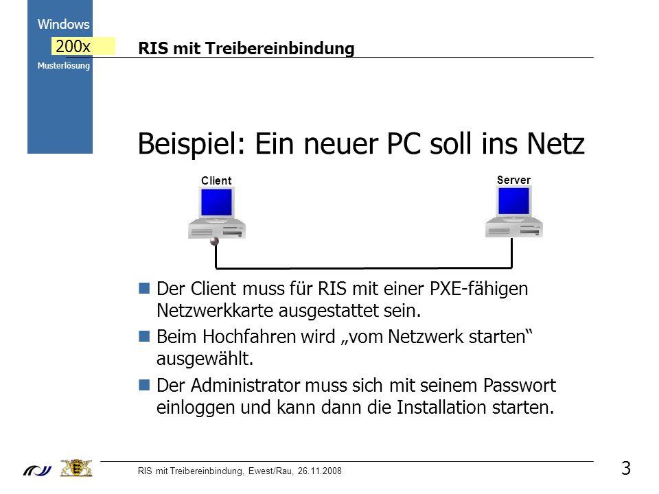 RIS mit Treibereinbindung RIS mit Treibereinbindung, Ewest/Rau, 26.11.2008 2000 Windows 200x Musterlösung 3 Client Beispiel: Ein neuer PC soll ins Netz Der Client muss für RIS mit einer PXE-fähigen Netzwerkkarte ausgestattet sein.