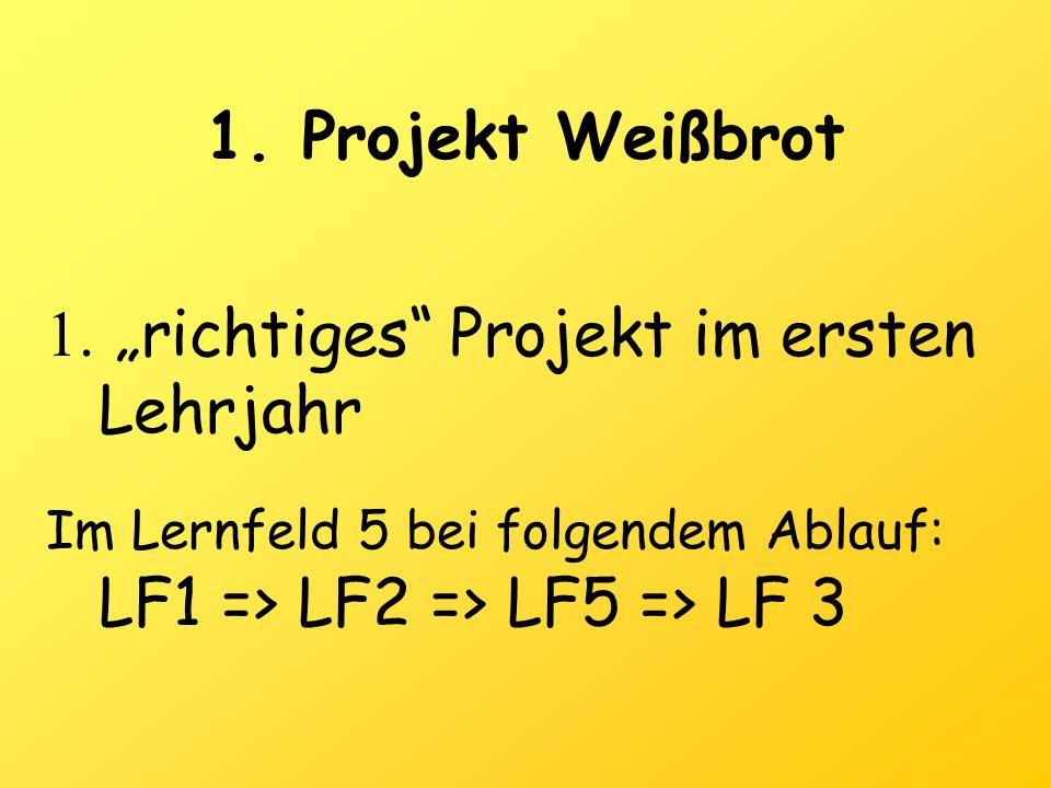 1.Projekt Weißbrot 1. richtiges Projekt im ersten Lehrjahr Im Lernfeld 5 bei folgendem Ablauf: LF1 => LF2 => LF5 => LF 3