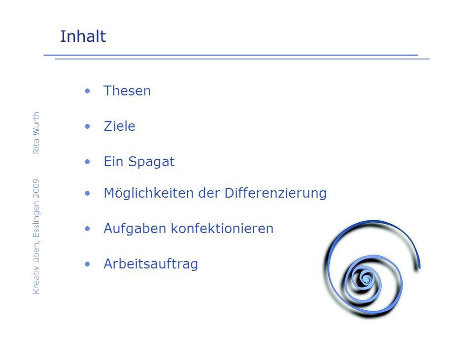 Inhalt Kreativ üben, Esslingen 2009Rita Wurth Thesen Möglichkeiten der Differenzierung Ziele Aufgaben konfektionieren Ein Spagat Arbeitsauftrag