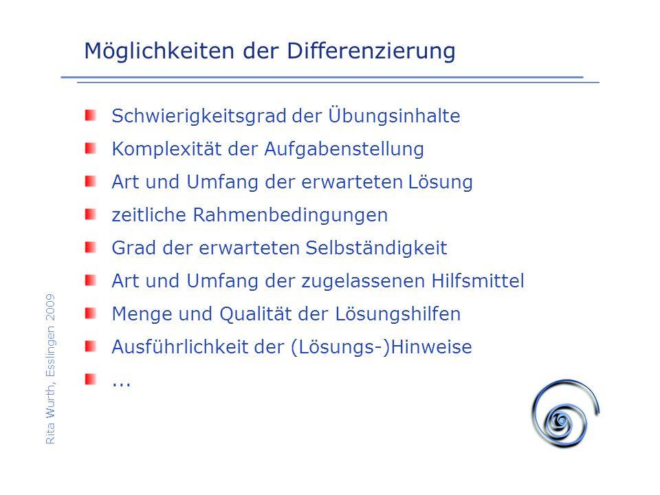 Möglichkeiten der Differenzierung Rita Wurth, Esslingen 2009 Schwierigkeitsgrad der Übungsinhalte Komplexität der Aufgabenstellung Art und Umfang der