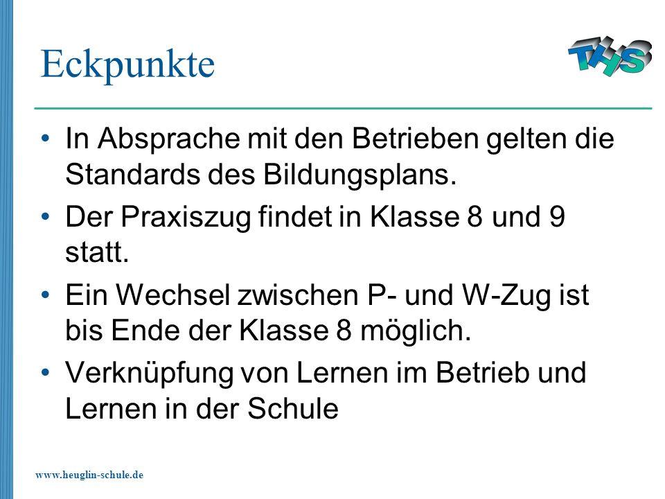 www.heuglin-schule.de Eckpunkte In Absprache mit den Betrieben gelten die Standards des Bildungsplans. Der Praxiszug findet in Klasse 8 und 9 statt. E