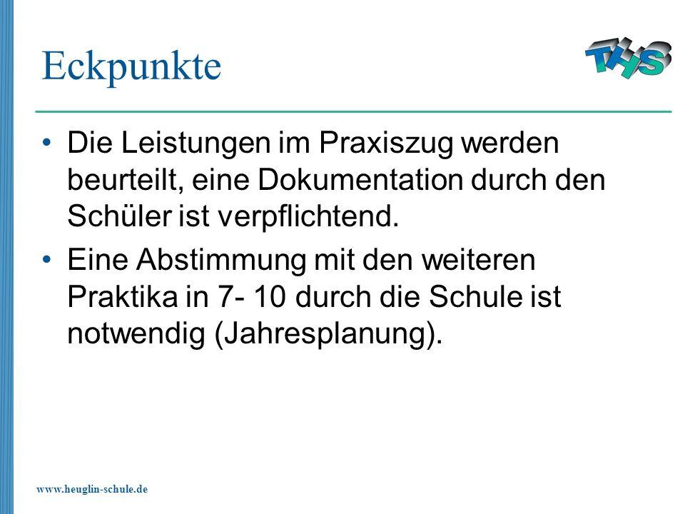 www.heuglin-schule.de Eckpunkte Die Leistungen im Praxiszug werden beurteilt, eine Dokumentation durch den Schüler ist verpflichtend. Eine Abstimmung