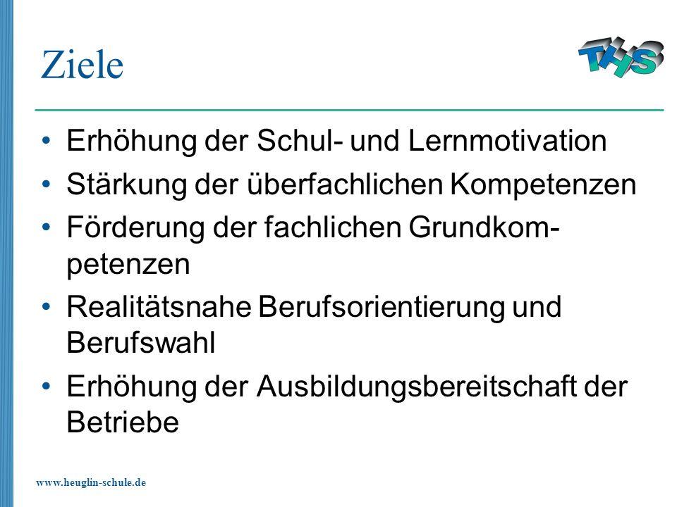 www.heuglin-schule.de Ziele Erhöhung der Schul- und Lernmotivation Stärkung der überfachlichen Kompetenzen Förderung der fachlichen Grundkom- petenzen