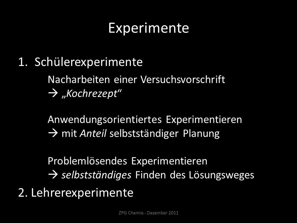 Experimente 1.Schülerexperimente Nacharbeiten einer Versuchsvorschrift Kochrezept Anwendungsorientiertes Experimentieren mit Anteil selbstständiger Planung Problemlösendes Experimentieren selbstständiges Finden des Lösungsweges 2.
