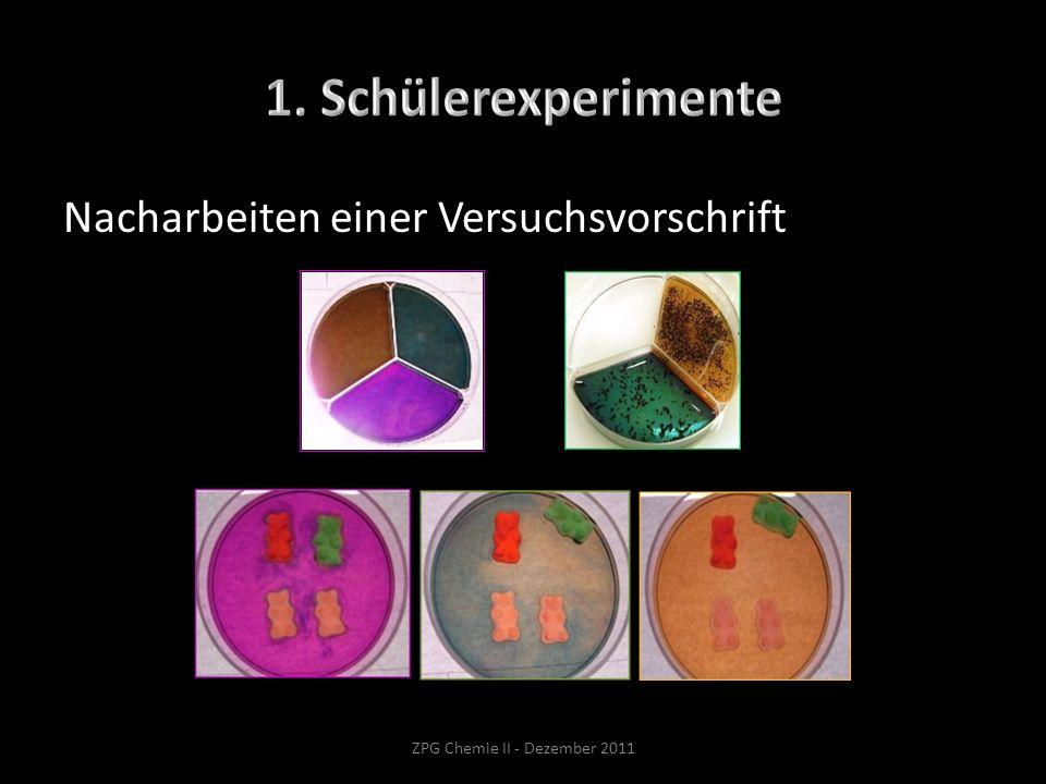 Nacharbeiten einer Versuchsvorschrift ZPG Chemie II - Dezember 2011