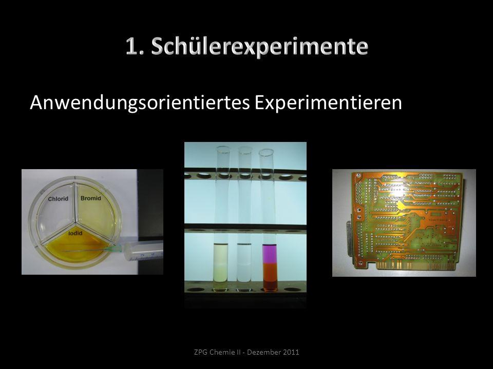 Anwendungsorientiertes Experimentieren ZPG Chemie II - Dezember 2011
