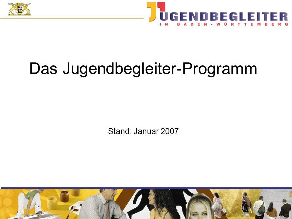 Das Jugendbegleiter-Programm Einbindung in einen umfassenden Entwicklungsprozess Ausbau der Ganztagesschulen in Baden- Württemberg bis zum Jahr 2014: 40 % der allgemein bildenden Schulen