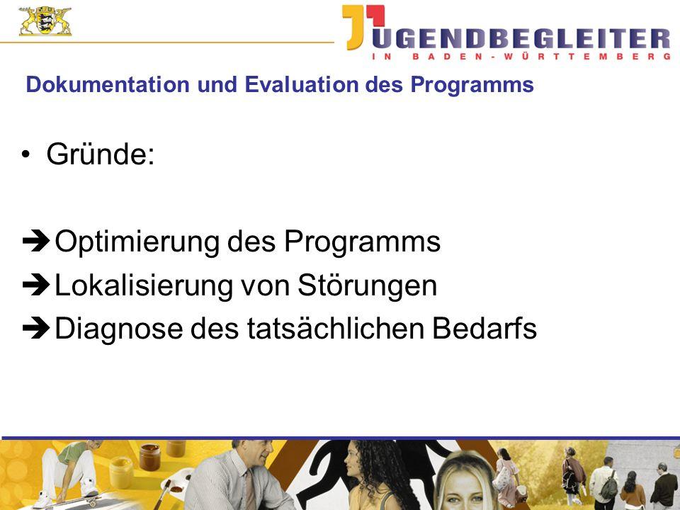 Dokumentation und Evaluation des Programms Gründe: Optimierung des Programms Lokalisierung von Störungen Diagnose des tatsächlichen Bedarfs