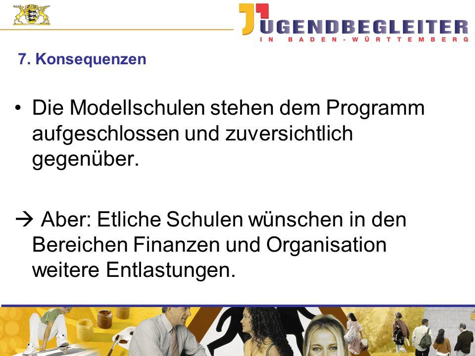 7. Konsequenzen Die Modellschulen stehen dem Programm aufgeschlossen und zuversichtlich gegenüber.