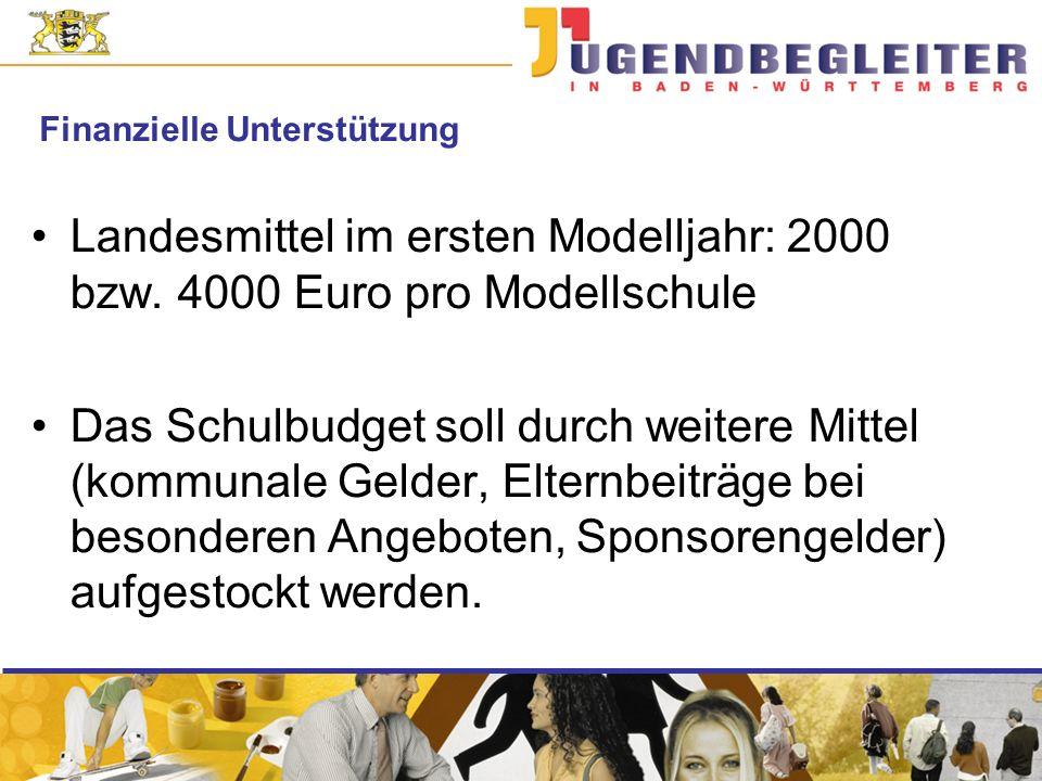 Finanzielle Unterstützung Landesmittel im ersten Modelljahr: 2000 bzw.